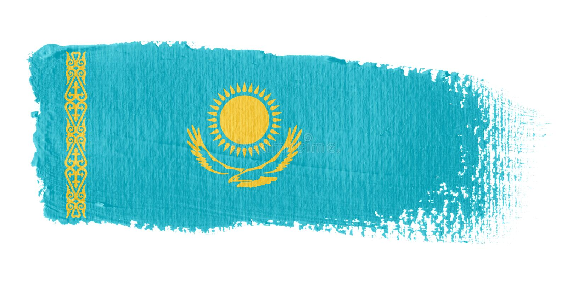 флаг kazakhstan brushstroke бесплатная иллюстрация
