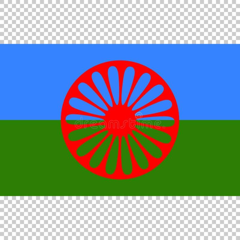 Флаг Romani людей Закройте вверх по вектору иллюстрация вектора