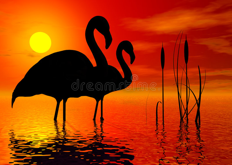 фламингоы иллюстрация штока