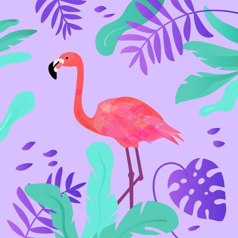 Фламинго и тропические листья в ярких цветах иллюстрация вектора