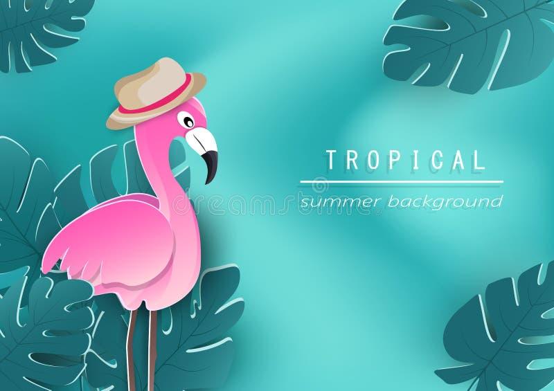 Фламинго и тропический плакат листьев на предпосылке волны, сезонном  бесплатная иллюстрация