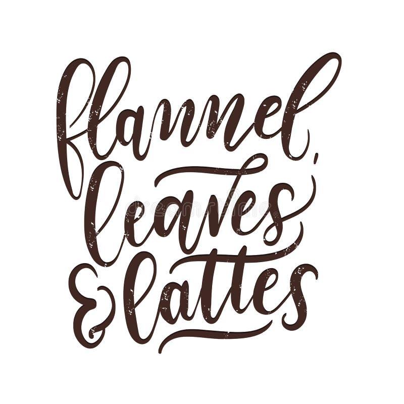 Фланель, листья и печать падения lattes вдохновляющая Карточка благодарения letterring бесплатная иллюстрация