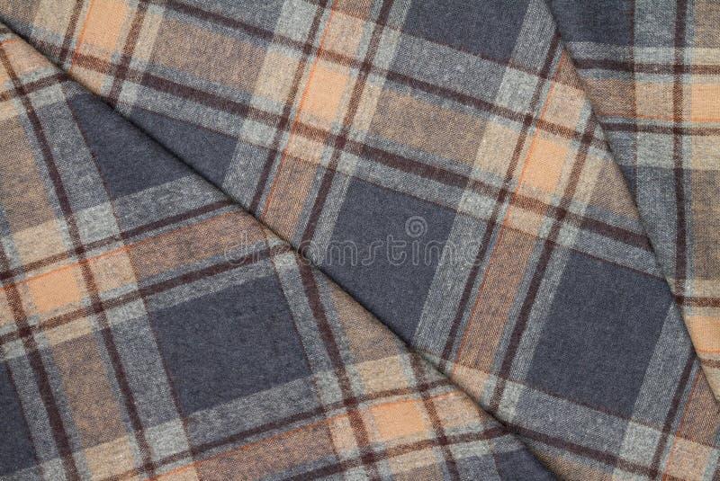 Фланель, хлопок в классическую шотландскую клетку как предпосылка ткани стоковое изображение rf