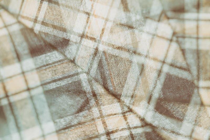 Фланель, хлопок в классическую шотландскую клетку как предпосылка ткани в винтажном стиле стоковое фото