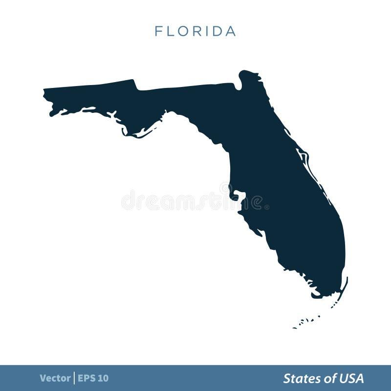 Флорида - государства дизайна иллюстрации шаблона вектора значка карты США r иллюстрация вектора