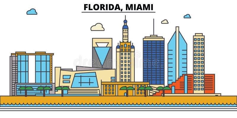 Флорида, Майами вектор горизонта конструкции города предпосылки ваш иллюстрация вектора