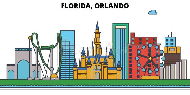 Флорида, Орландо вектор горизонта конструкции города предпосылки ваш иллюстрация штока