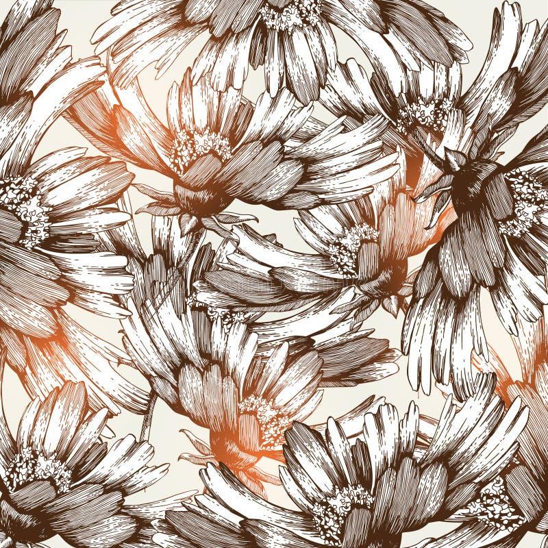 Флористическая абстрактная предпосылка, чертеж руки, вектор. иллюстрация штока