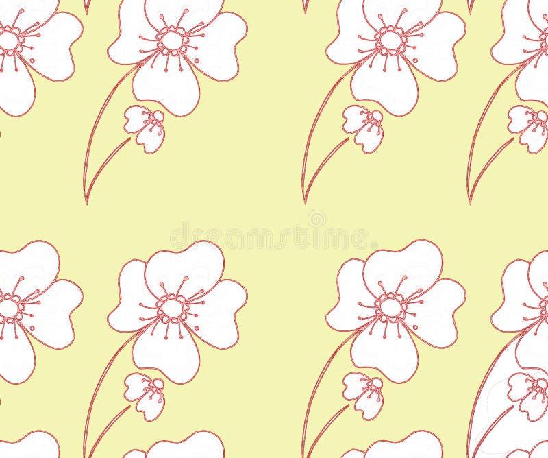 Флористическая безшовная картина в абстрактном стиле на желтой предпосылке иллюстрация штока