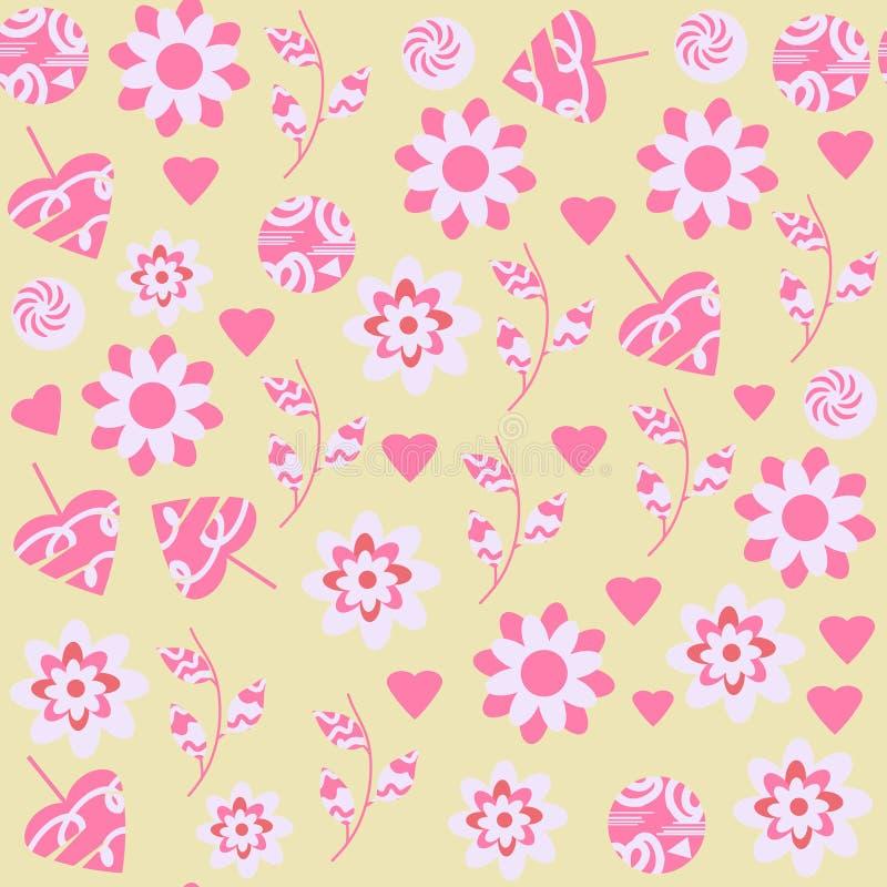 Флористическая безшовная картина в нежных цветах Оно расположено в меню образца, изображении вектора иллюстрация штока