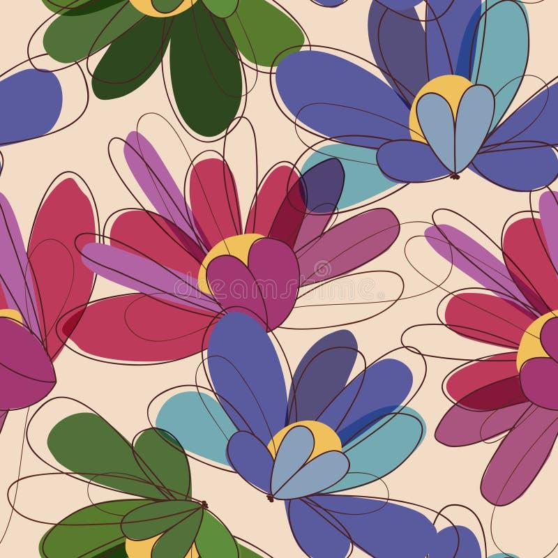 Флористическая безшовная картина в ретро цветах иллюстрация штока