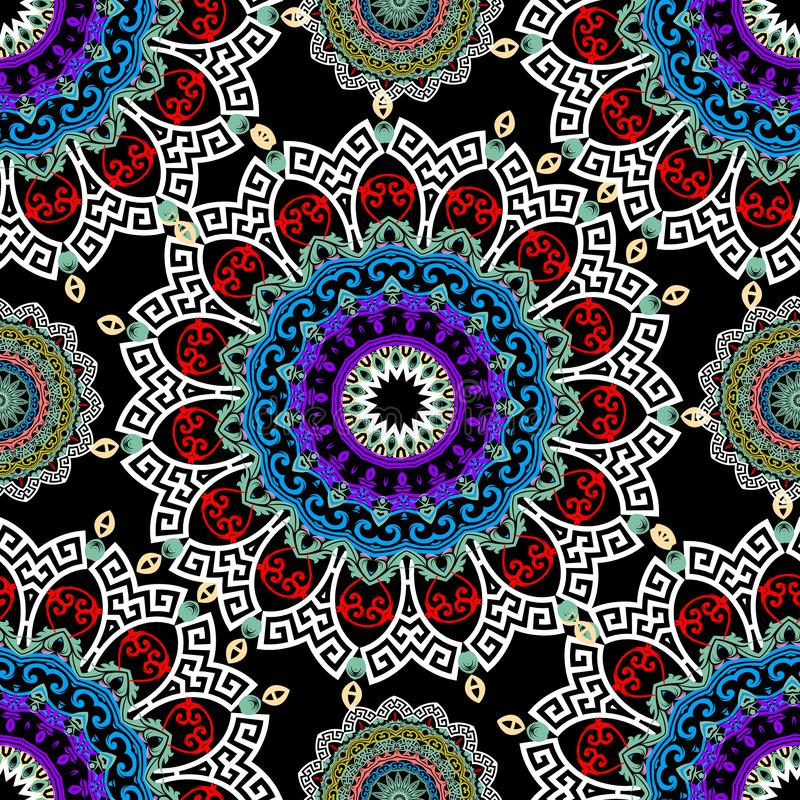 Флористическая безшовная картина мандал Красочная сделанная по образцу предпосылка Этнические цветки стиля, листья Мандала кругло иллюстрация вектора