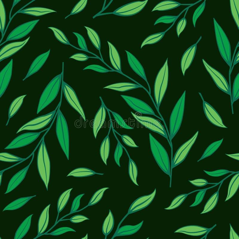 Флористическая безшовная картина на темной ой-зелен предпосылке иллюстрация вектора