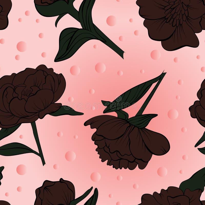 Флористическая безшовная картина пиона нарисованная в эскизе иллюстрация вектора