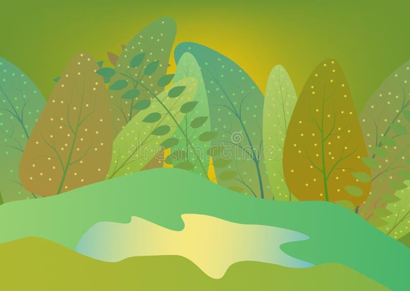 Флористическая безшовная картина сделанная с заводами и озером красо иллюстрация штока