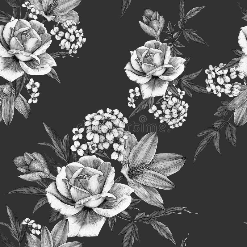 Флористическая безшовная картина с белыми розами, крокусами и жасмином акварели иллюстрация вектора
