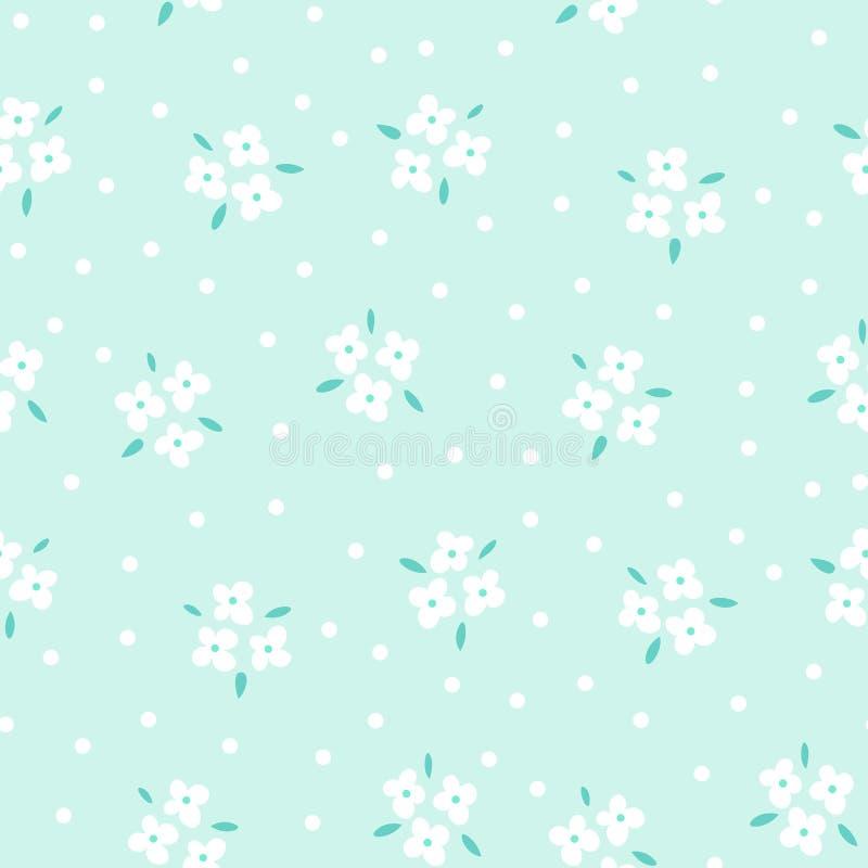 Флористическая безшовная картина с белыми цветками на голубой предпосылке Повторенный светлый фон, мягкая текстура ткани яркое иллюстрация вектора