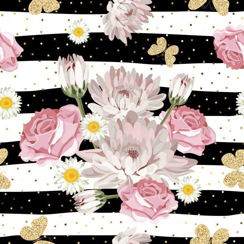 Флористическая безшовная картина с блестящими бабочками иллюстрация штока