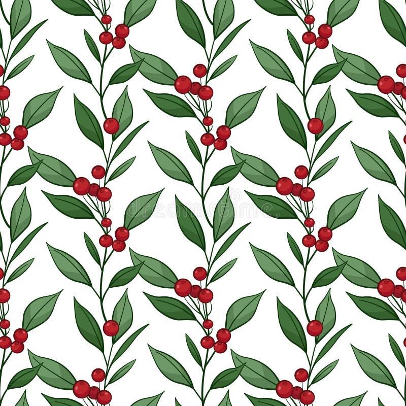 Флористическая безшовная картина с вертикальными ветвями, листьями, ягодами бесплатная иллюстрация