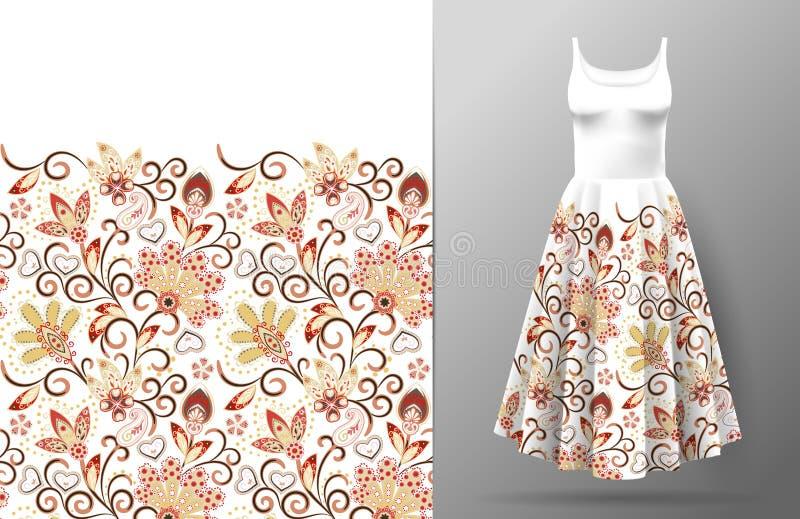 Флористическая безшовная картина с восточным орнаментом чертежа руки Иллюстрация вектора в азиатском стиле ткани Платье ` s женщи иллюстрация вектора