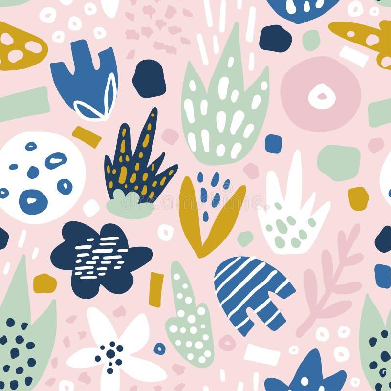 Флористическая безшовная картина с в стиле фанк цветками Творческая поверхностная предпосылка дизайна иллюстрация вектора