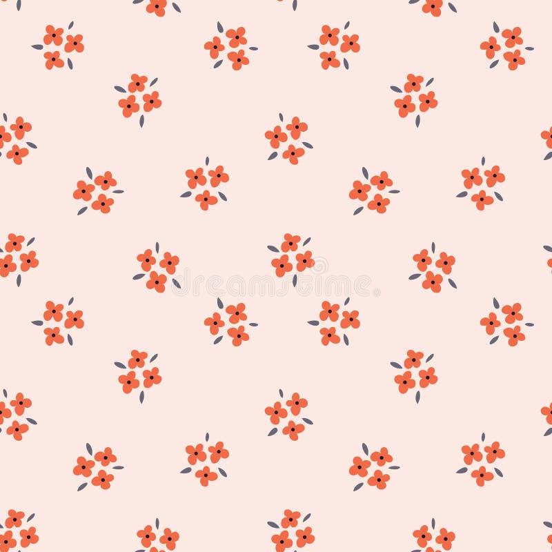 Флористическая безшовная картина с красными цветками на розовой предпосылке Повторенный светлый фон, мягкая текстура ткани яркое иллюстрация вектора