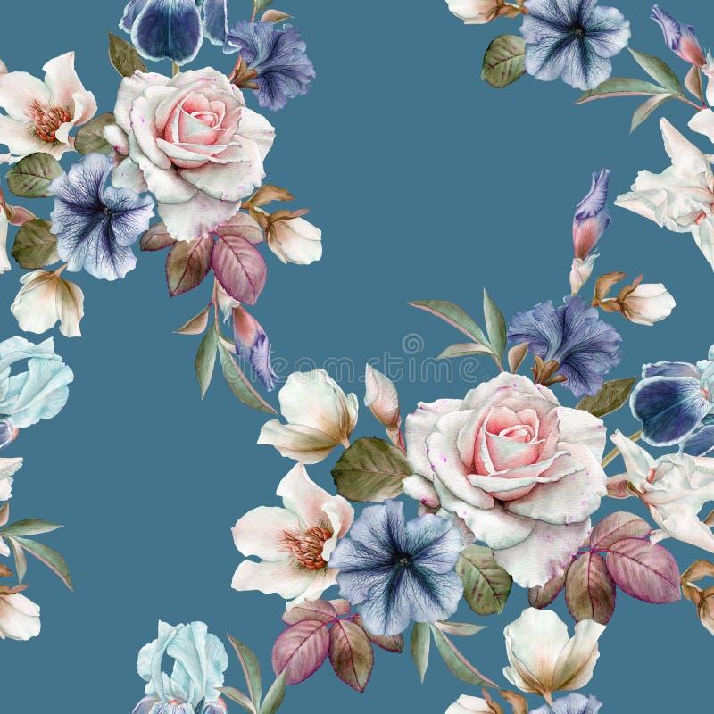 Флористическая безшовная картина с петуньями, морозником, розами и радужками иллюстрация штока