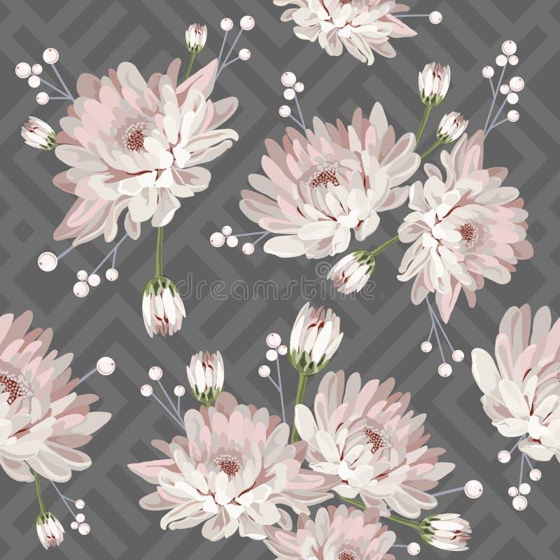 Флористическая безшовная картина с хризантемами на серой геометрической предпосылке также вектор иллюстрации притяжки corel иллюстрация вектора
