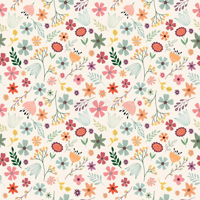 Флористическая безшовная картина с цветками и заводами нарисованными рукой бесплатная иллюстрация