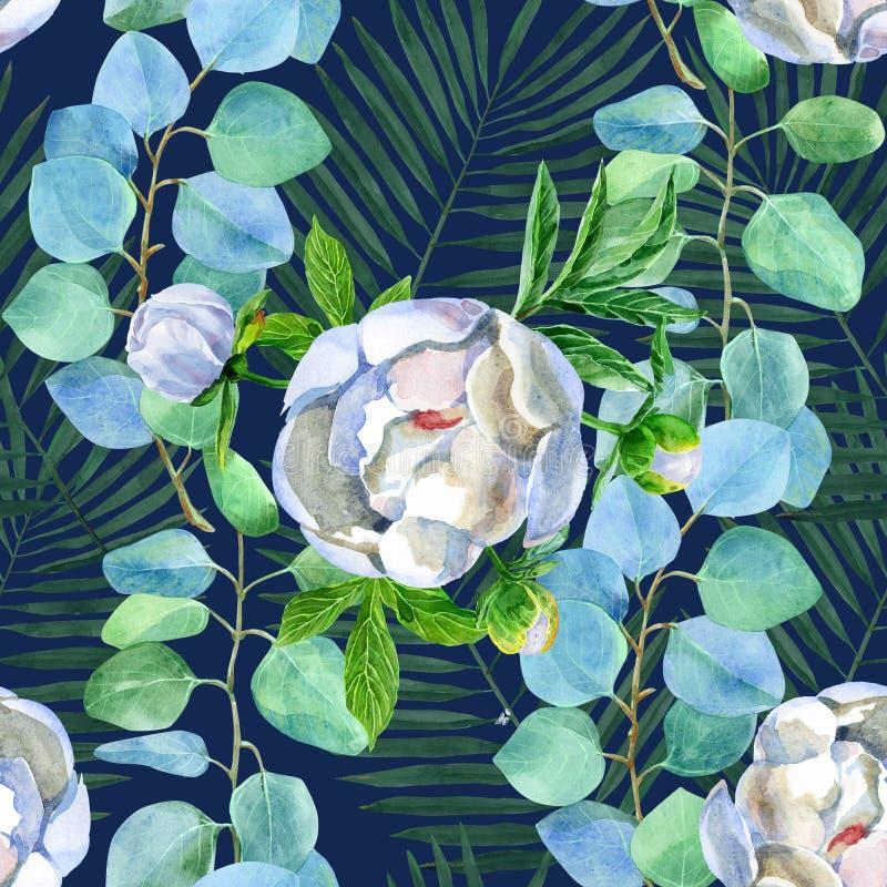 Флористическая безшовная картина с эвкалиптом и пионы на предпосылке сини военно-морского флота бесплатная иллюстрация