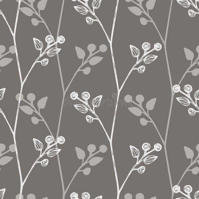 Флористическая безшовная предпосылка с малыми листьями, хворостинами заводов картина просто Серый и белый цвет идея для бесплатная иллюстрация