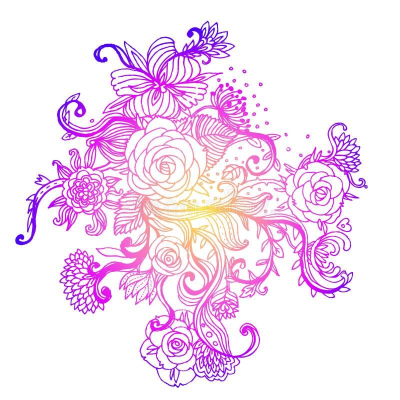 Флористическая богато украшенная картина с розами также вектор иллюстрации притяжки corel иллюстрация штока