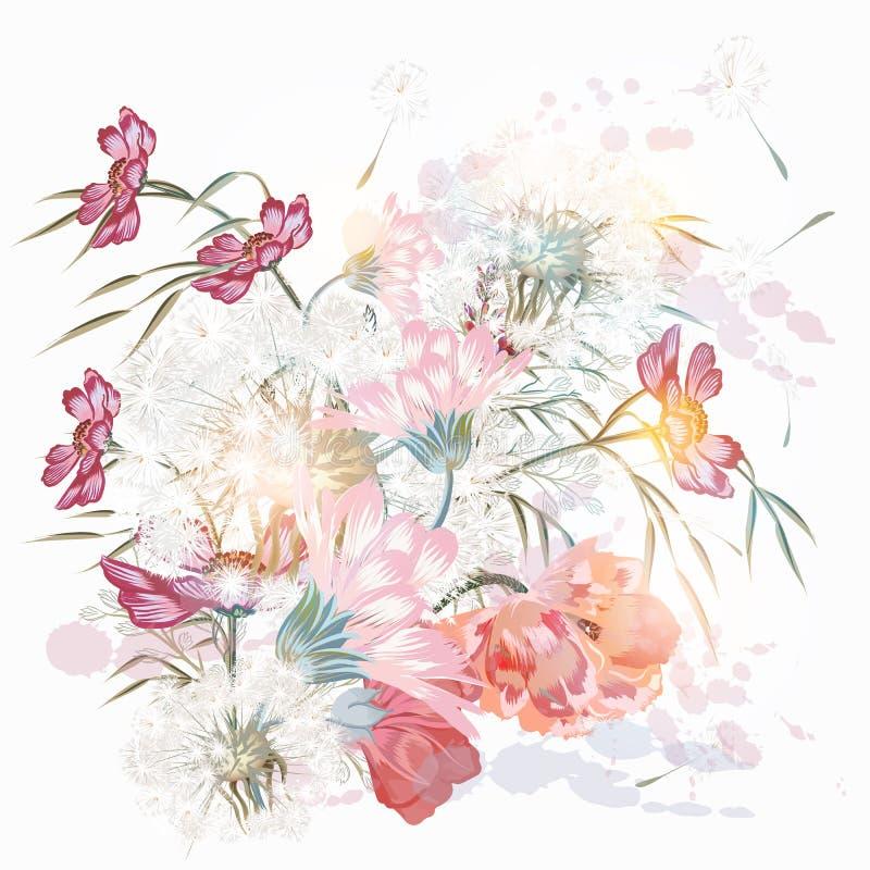 Флористическая ботаническая иллюстрация с розовыми цветками и заводами иллюстрация вектора