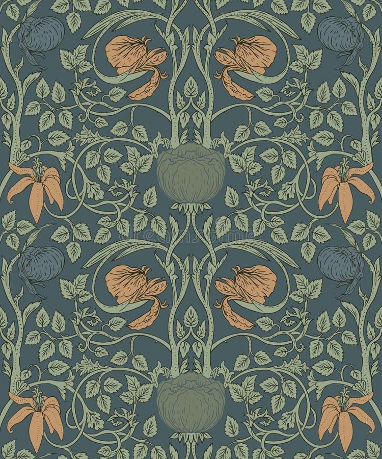 Флористическая винтажная безшовная картина для ретро обоев заколдованный иллюстрация штока
