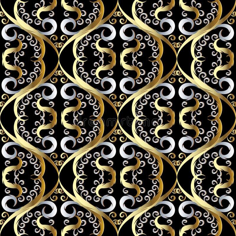 Флористическая винтажная восточная картина стиля 3d безшовная Чернота вектора бесплатная иллюстрация