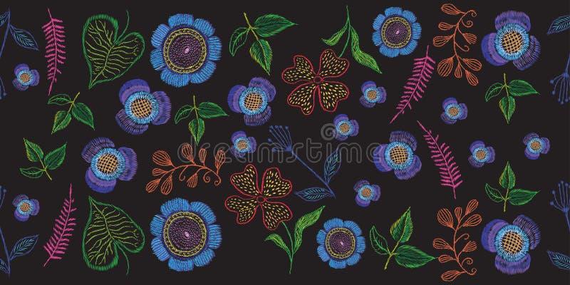 флористическая вышивка на черной предпосылке для печатей иллюстрация вектора