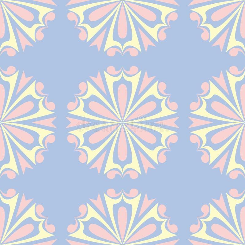 флористическая голубая безшовная картина Покрашенная предпосылка с бежевыми и розовыми элементами бесплатная иллюстрация