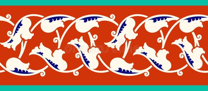 Флористическая граница для вашего дизайна Орнамент традиционной турецкой тахты ½ ¿ ï безшовный Iznik иллюстрация штока