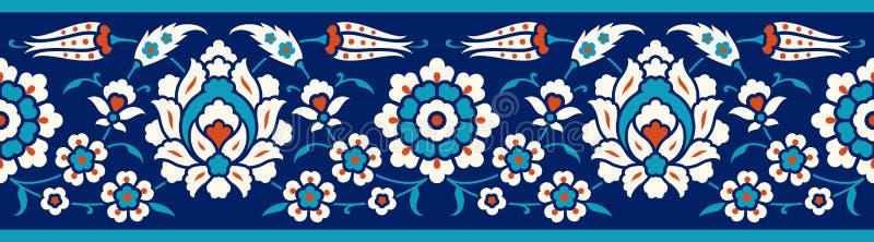 Флористическая граница для вашего дизайна Орнамент традиционной турецкой тахты ½ ¿ ï безшовный Iznik бесплатная иллюстрация