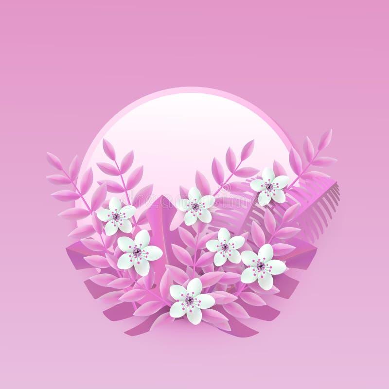 Флористическая иллюстрация вектора с белыми цветками вишни или яблока на розовых листьях на значке округлой формы иллюстрация вектора