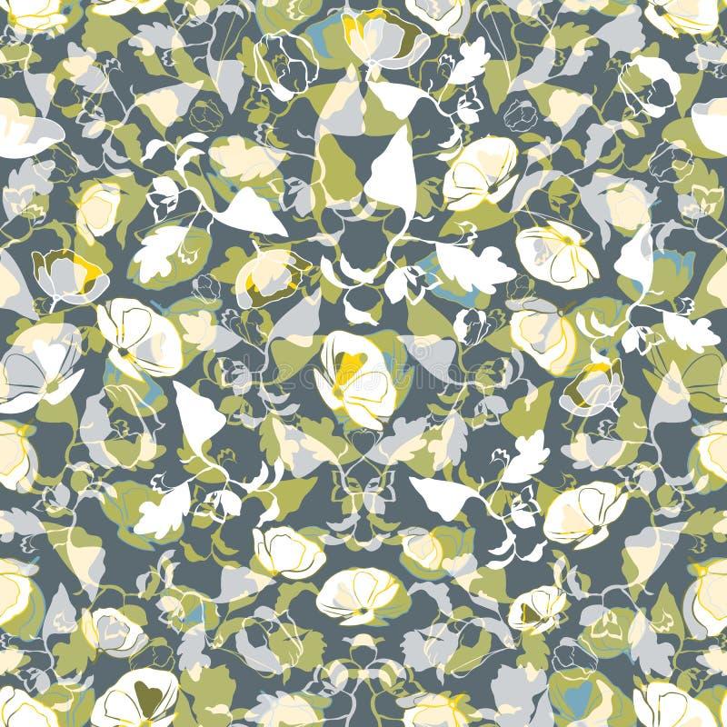 флористическая картина безшовная Абстрактные листья, цветки, маки и заводы в прованском, зеленом, желтом, белом, teal и сером цве бесплатная иллюстрация