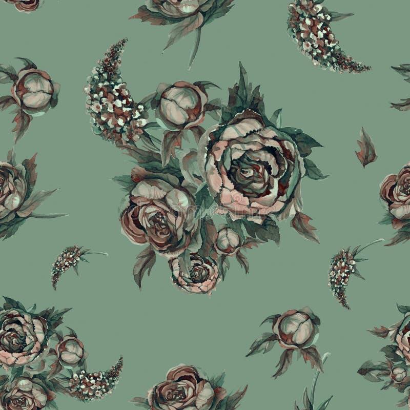 флористическая картина безшовная автор цветет акварель изображения картины I Розы, пионы, сирени Старые букеты цветков венчание п иллюстрация вектора