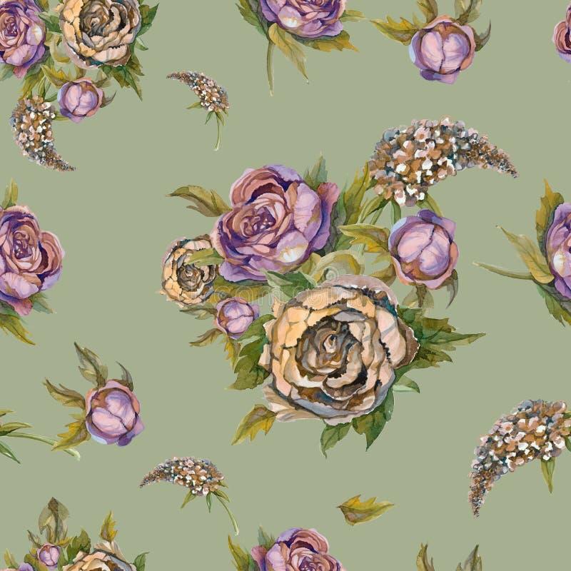 флористическая картина безшовная автор цветет акварель изображения картины I Розы, пионы, сирени Винтажные букеты цветков венчани иллюстрация вектора