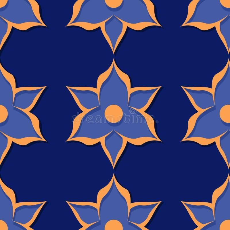 флористическая картина безшовная Дизайны темносинего и апельсина 3d иллюстрация штока