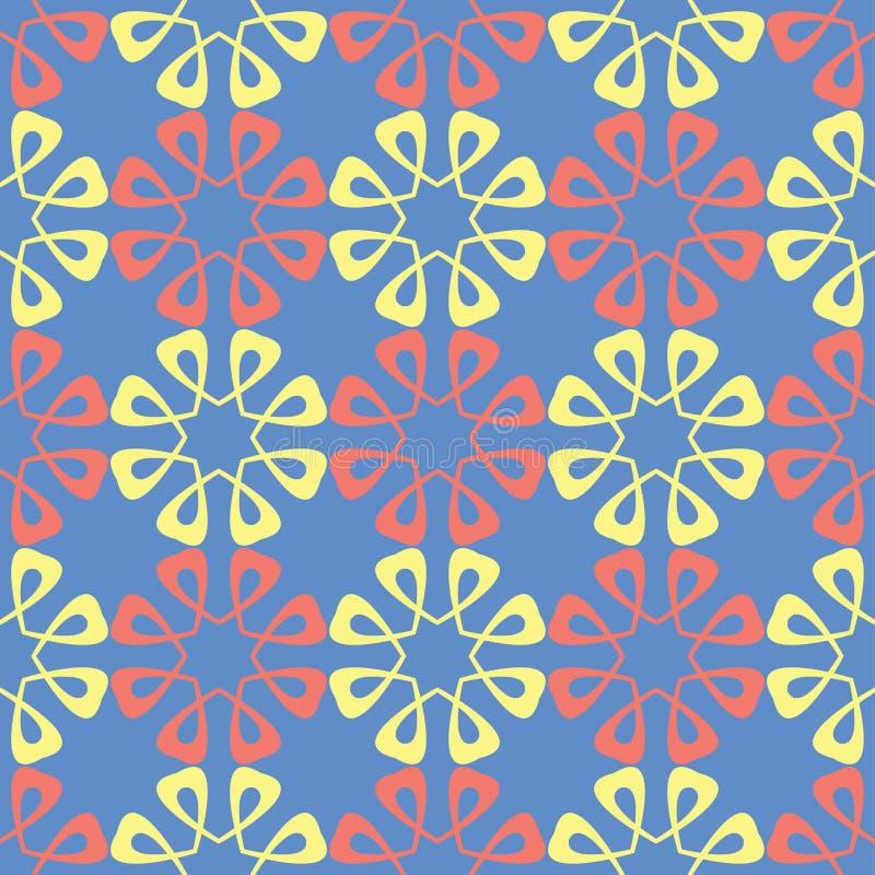 флористическая картина безшовная Красные и желтые элементы цветка на голубой предпосылке иллюстрация штока