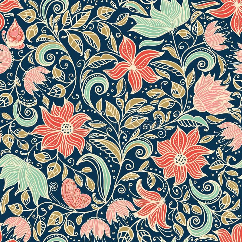 флористическая картина безшовная Красочная иллюстрация обоев предпосылки с винтажными цветками лета выходит и орнаменты иллюстрация вектора
