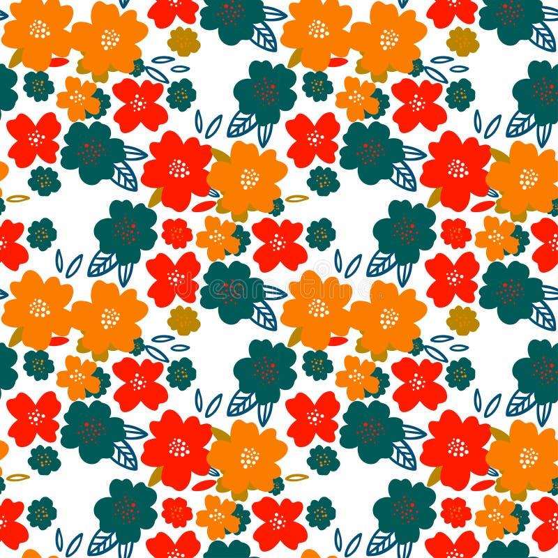 флористическая картина безшовная Милые цветки на белой предпосылке Печатать с малыми белыми цветками Печать Ditsy Вектор орнамент иллюстрация вектора