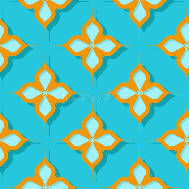 флористическая картина безшовная Оранжевые и яркие дизайны сини 3d иллюстрация вектора