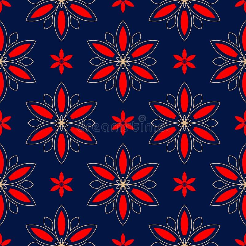 флористическая картина безшовная Покрашенный красная и голубая предпосылка иллюстрация вектора