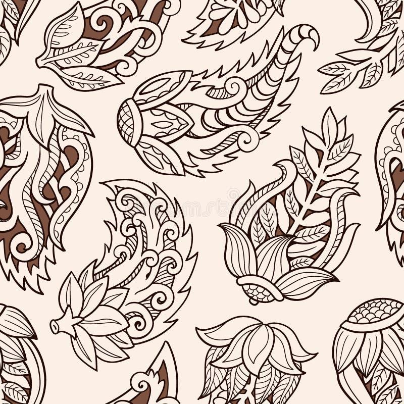 флористическая картина безшовная Предпосылка вектора Doodle с цветками, листьями Индийский орнамент, стиль хны иллюстрация штока